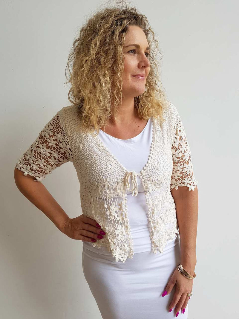 cotton crochet cardigan jacket with flower white natural