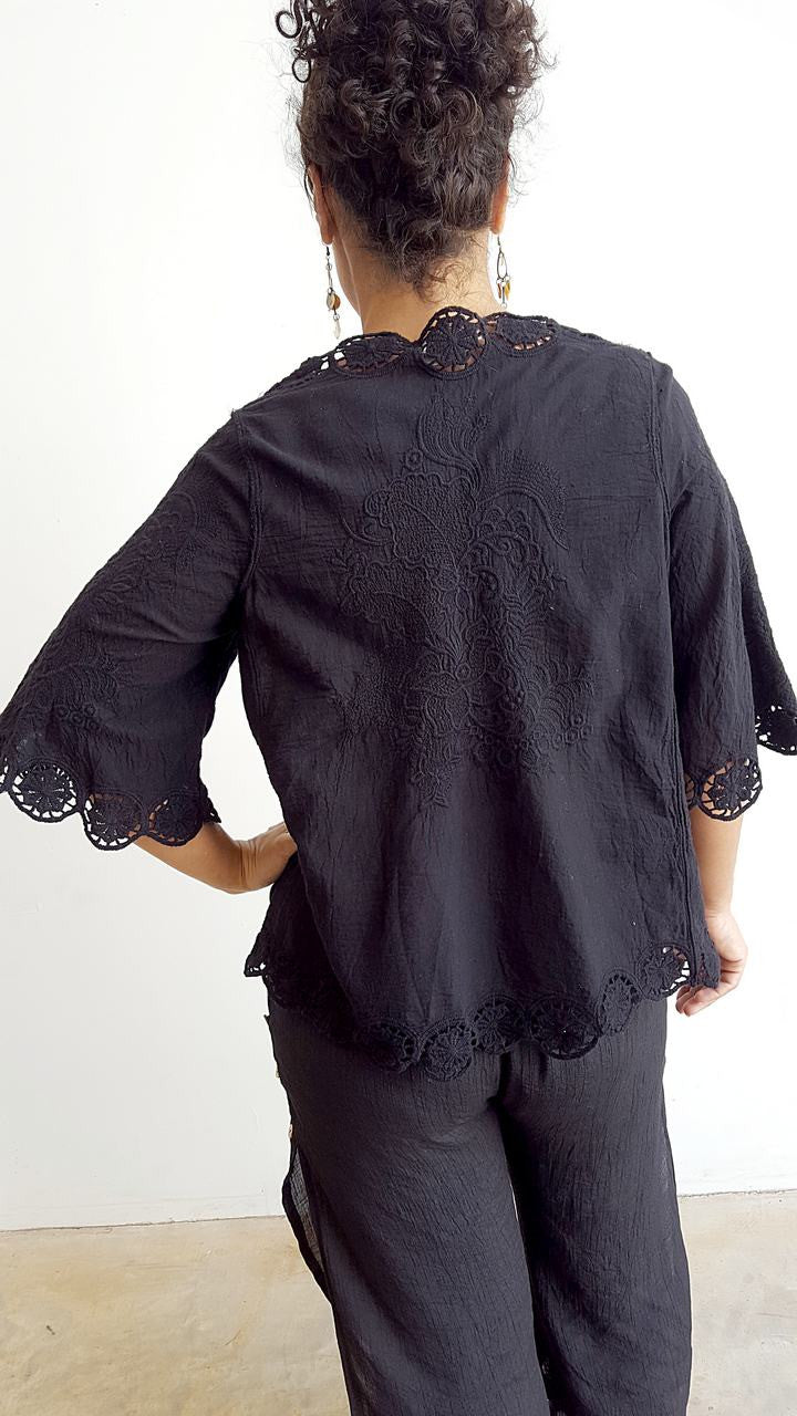 Lightweight summer embroidered cardigan with 3/4 sleeve + cotton lace detailing + tie front. Black.