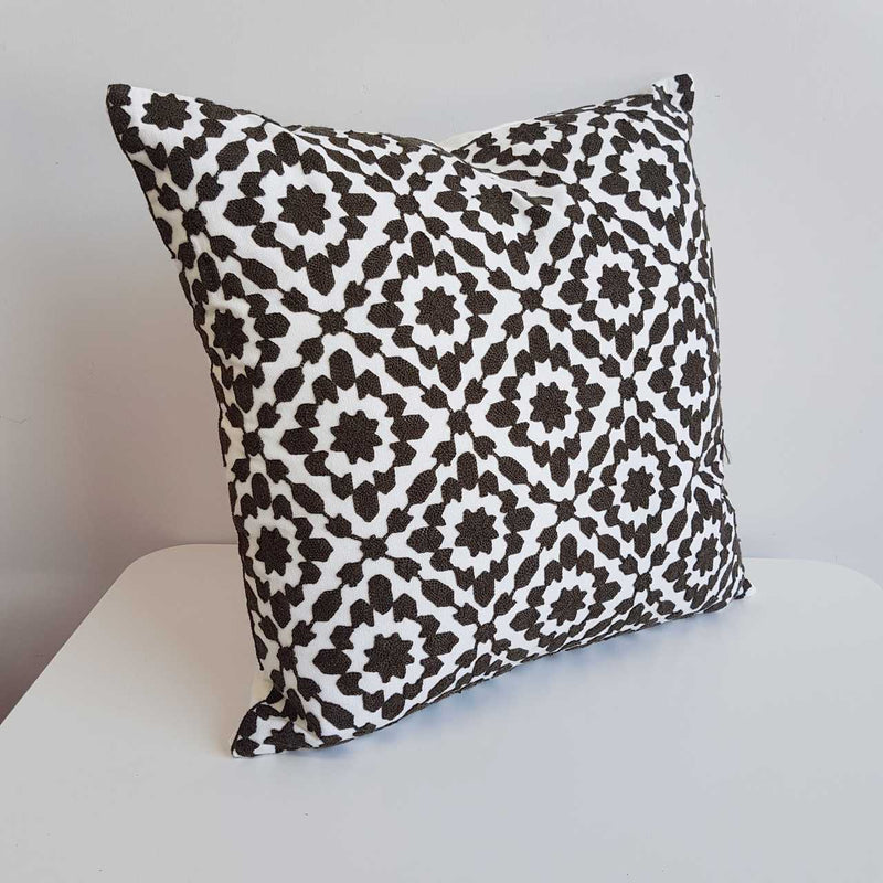 Cotton Embroidery Cushion Cover / Clovelly Black.