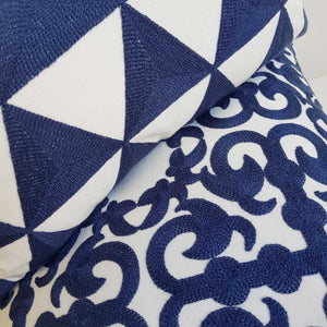 Cotton Embroidery Cushion Cover / Coogee Navy Blue Triangle Print + Double Bay Print