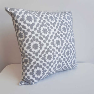 Cotton Embroidery Cushion Cover / Clovelly Silver Grey.