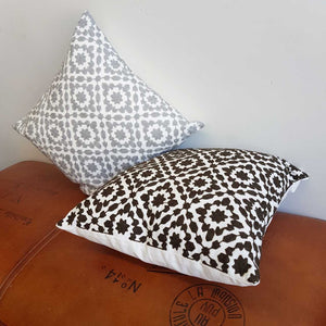 Cotton Embroidery Cushion Cover / Clovelly Black + Silver Grey.