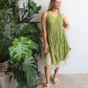 Women's sleeveless v-neck 100 % cotton layer summer dress. One size fitting sizes 10-18. Leaf Green.