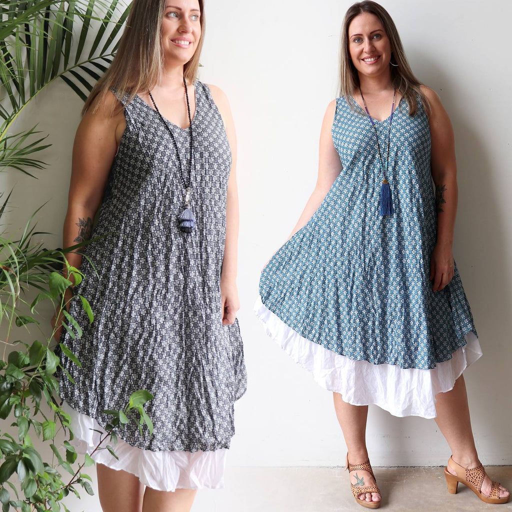 100% Cotton Layer Dress with bias cut. Classic Sleeveless Summer Dress with flexible one size, fitting sizes 10-18 comfortably. Blue + Charcoal.