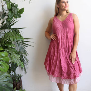Women's sleeveless v-neck 100 % cotton layer summer dress. One size fitting sizes 10-18. Dusty Pink.