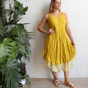 Women's sleeveless v-neck 100 % cotton layer summer dress. One size fitting sizes 10-18. Mustard Yellow.