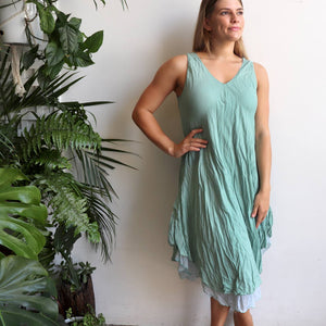 Women's sleeveless v-neck 100 % cotton layer summer dress. One size fitting sizes 10-18. Ocean Mist.