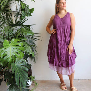 Women's sleeveless v-neck 100 % cotton layer summer dress. One size fitting sizes 10-18. Plum.
