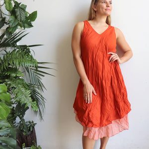 Women's sleeveless v-neck 100 % cotton layer summer dress. One size fitting sizes 10-18. Rust Orange.