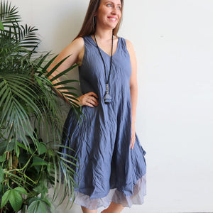 Women's sleeveless v-neck 100 % cotton layer summer dress. One size fitting sizes 10-18. Charcoal Blue.