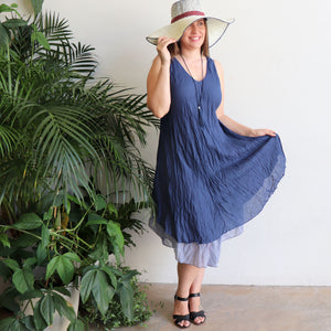 Women's sleeveless v-neck 100 % cotton layer summer dress. One size fitting sizes 10-18. Navy Blue.