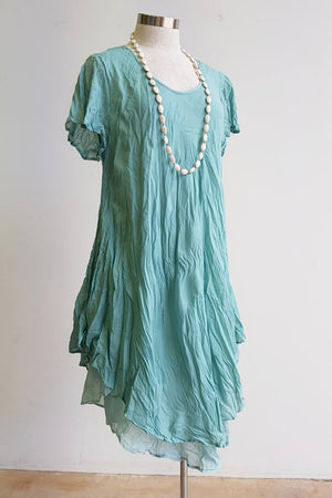 Cap sleeve two layer cotton knee-length dress onesize fits size 10 to size  18. Ocean Mist Green.
