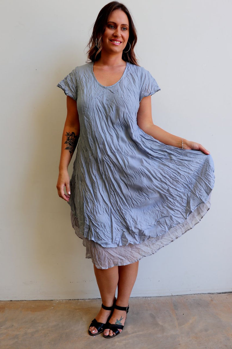 Cap sleeve two layer cotton knee-length dress onesize fits size 10 to size  18. Silver Grey.