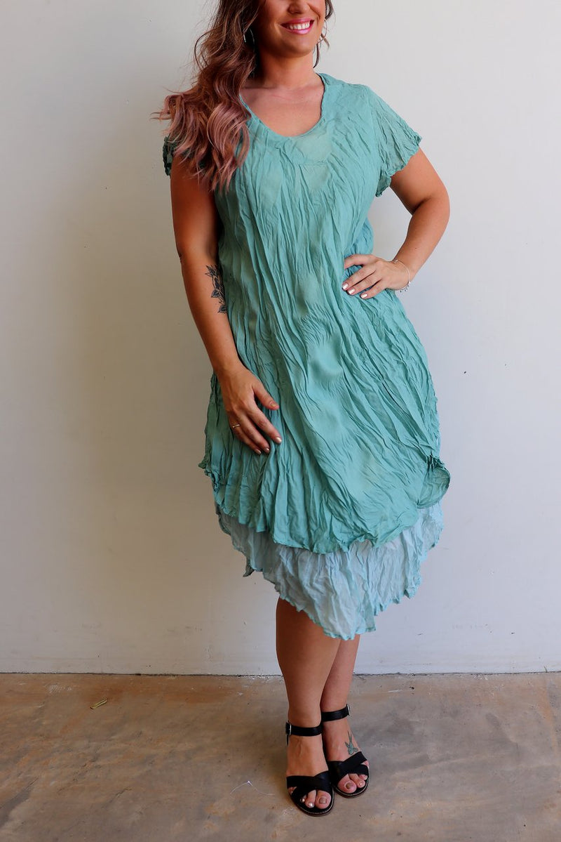 Cotton Layer Dress with Cap Sleeve