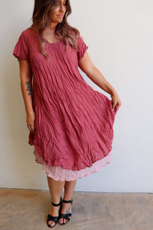 Cap sleeve two layer cotton knee-length dress onesize fits size 10 to size  18. Dusty Pink.
