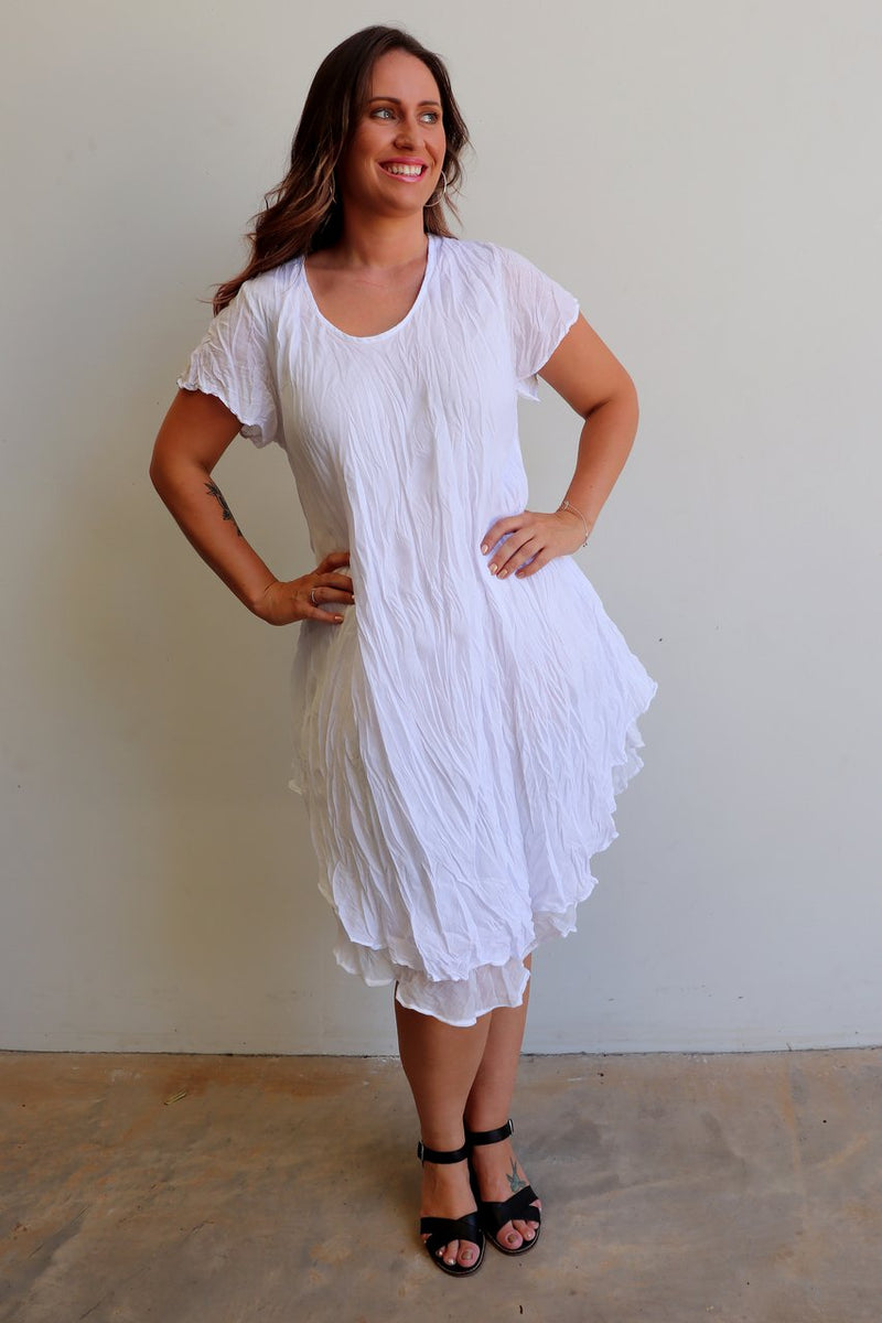 Cap sleeve two layer cotton knee-length dress onesize fits size 10 to size  18. White.