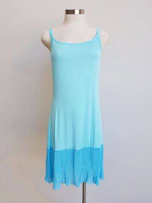 Easy stretch cotton slip with pleated hem. aqua blue