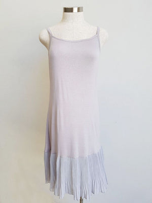 Easy stretch cotton slip with pleated hem. Silver Grey