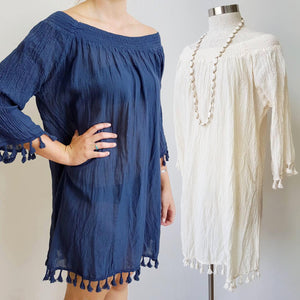 Cotton Tree Mini Beach Lightweight Dress. Crinkle Cotton Collection. Tassle 3/4 sleeve. Natural Cream + Navy Blue.