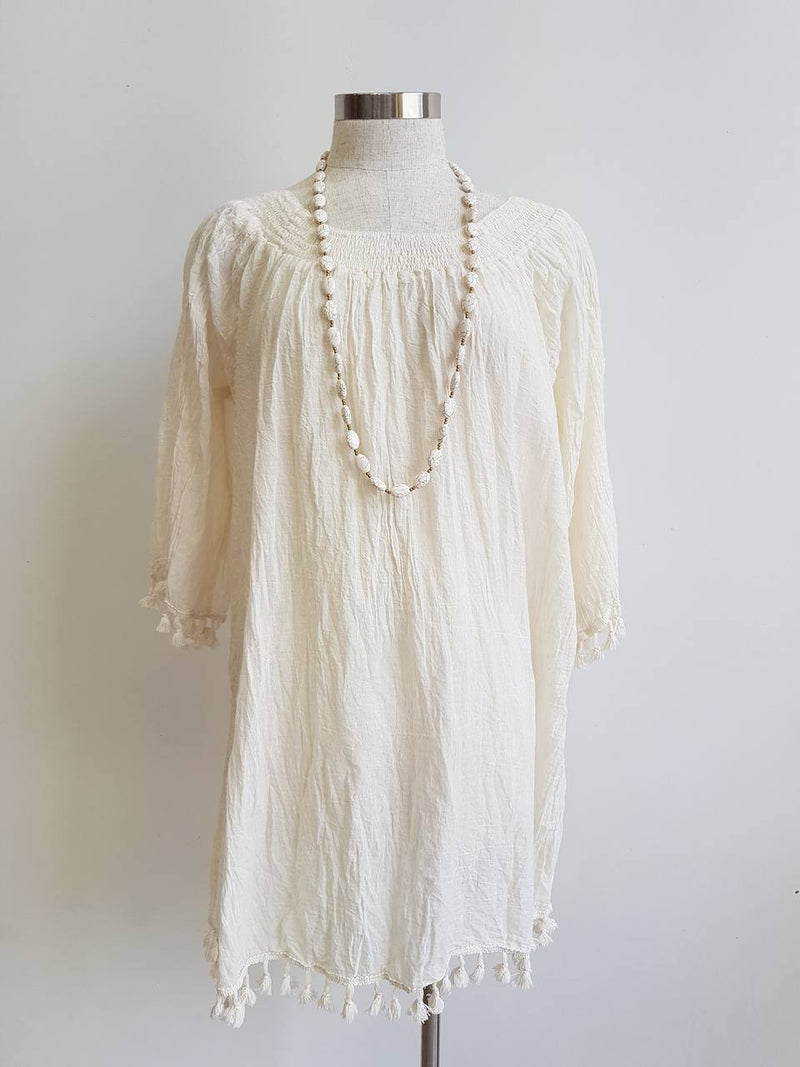 Cotton Tree Mini Beach Lightweight Dress. Crinkle Cotton Collection. Tassle 3/4 sleeve. Natural Cream.