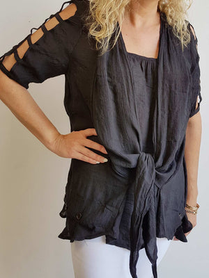 Lightweight, floaty summer tunic top with double layer draping front. Black