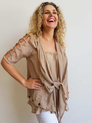 Lightweight, floaty summer tunic top with double layer draping front. Mocha