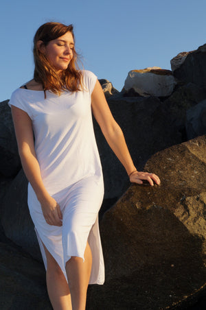 Dress Me Up in Bamboo - sleeveless slip designed to layer under sheer evening wear or kaftans. White.