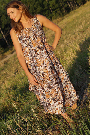 Ladies below the knee scalloped hem sleeveless summer dress. Plus size fitting - Brown animal print