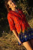 Handmade 100% cotton tunic shirt top in bright red and cobalt blue sari print