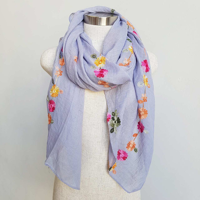 Daisy Chain Cotton Embroidery Scarf Wrap + rainbow floral.   Lilac