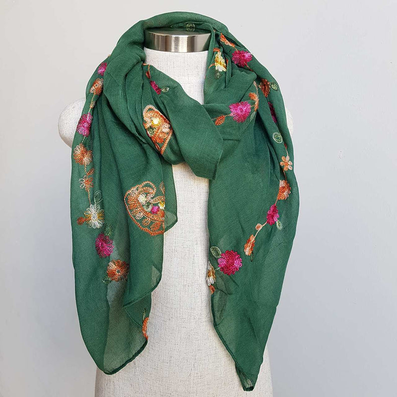 Daisy Chain Cotton Embroidery Scarf Wrap + rainbow floral. Forrest Green
