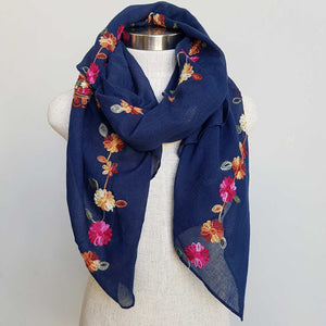 Daisy Chain Cotton Embroidery Scarf Wrap + rainbow floral. Navy