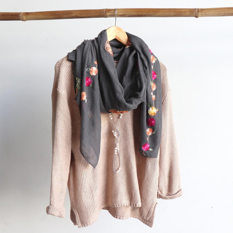Daisy Chain Cotton Embroidery Scarf Wrap + rainbow floral.  Charcoal.