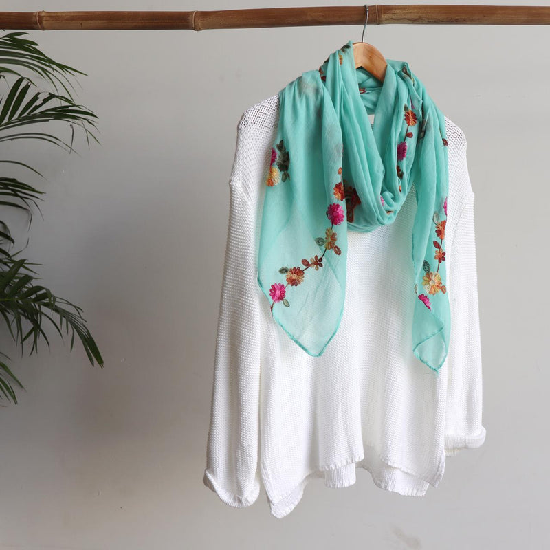 Daisy Chain Cotton Embroidery Scarf Wrap + rainbow floral. Jade Green
