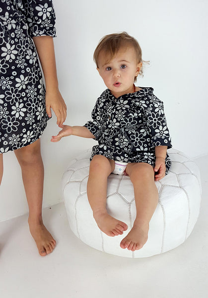 Girl's long sleeve cotton shirt dress with mandarin collar and black and white daisy print