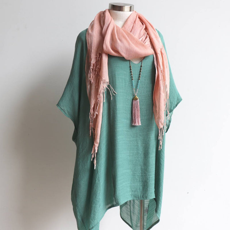 Day Tripper Scarf thai silk cotton blend fringe accessory. Blush Pink.