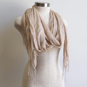 Day Tripper Scarf in cotton/silk blend. Soft and lightweight plain colour scarf accessory. Cappuccino.