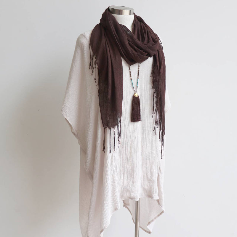 Day Tripper Scarf thai silk cotton blend fringe accessory. Chocolate Brown.