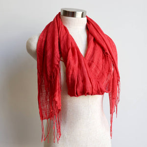 Day Tripper Scarf thai silk cotton blend fringe accessory. Flame.