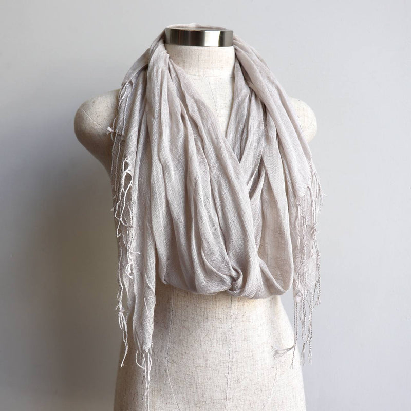 Day Tripper Scarf in cotton/silk blend. Soft and lightweight plain colour scarf accessory. Moonshine.
