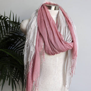 Day Tripper Scarf thai silk cotton blend fringe accessory. Dusty Pink + Moonshine.