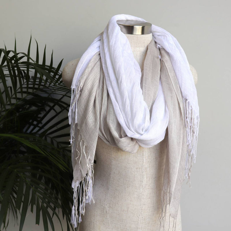 Day Tripper Scarf thai silk cotton blend fringe accessory. White + Moonshine.