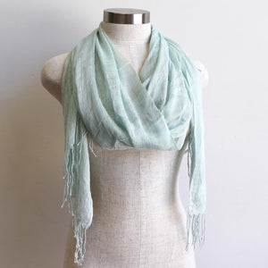 Day Tripper Scarf in cotton/silk blend. Soft and lightweight plain colour scarf accessory. Sea Foam Green.