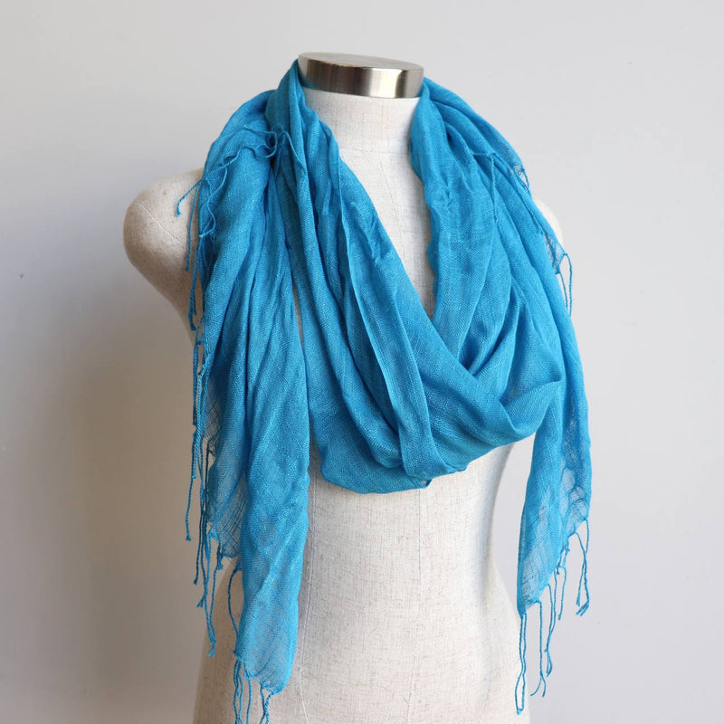 Day Tripper Scarf thai silk cotton blend fringe accessory. Sky Blue.