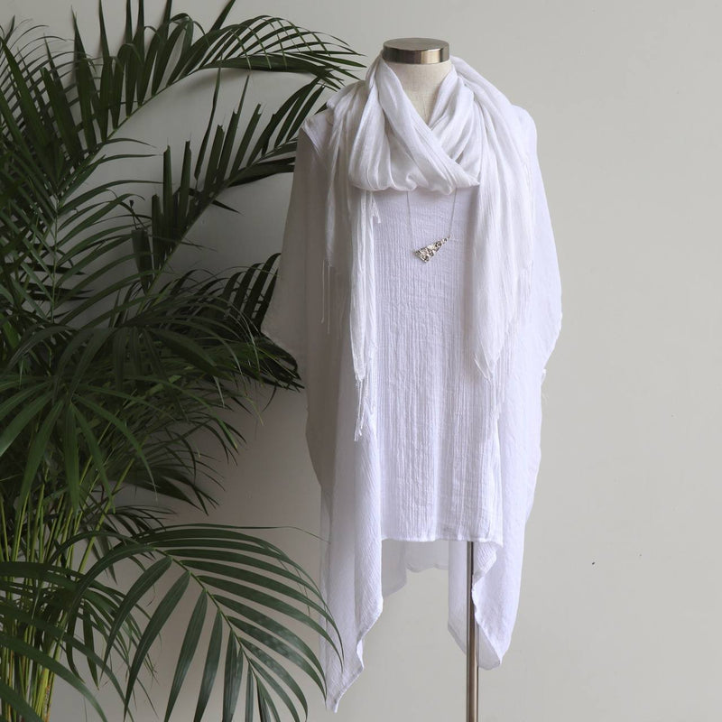 Day Tripper Scarf thai silk cotton blend fringe accessory. White.