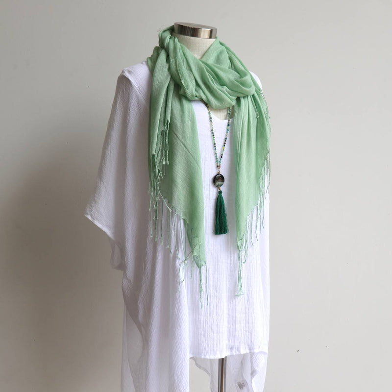 Day Tripper Scarf thai silk cotton blend fringe accessory. Mint Green.