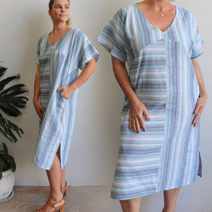 Daydreamer linen kaftan dress designed by our Kobomo team. Women's summer wear with a loose cut, v-neck with two pockets. Ethically made with a quality linen/cotton blend. Sizes S-XXL.