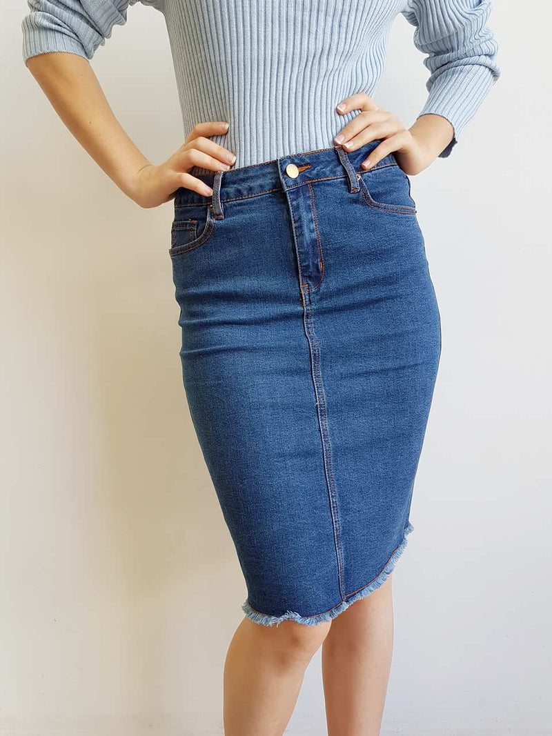 Classic Cut Denim Stretch Knee Length Skirt Navy Blue.