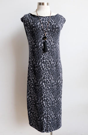 Comfy and fun animal print sleeveless dress. Square shape, scooped neck, stretch fabric dress that's ethically produced & handmade.