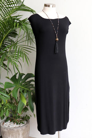 Dress Me Up in Bamboo - sleeveless slip designed to layer under sheer evening wear or kaftans. Black